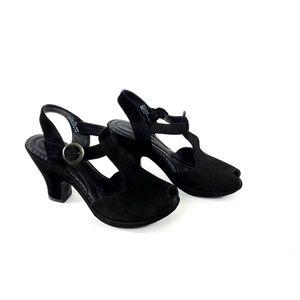 Born Crown Peeptoe Zola High Heel Leather Sandal